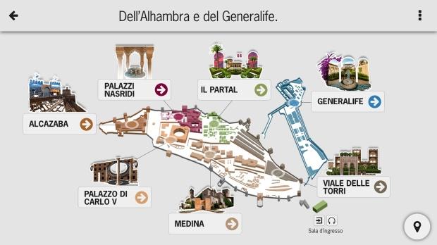 La mappa di tutte le zone visitabili della Alhambra