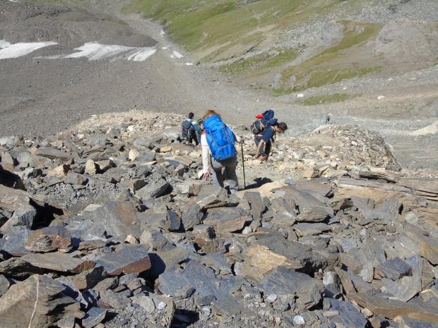 Scendere dalla cima del Rosset